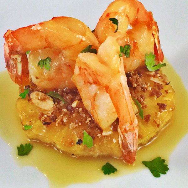 Sautéed Shrimp with Smoked Carmelized Pineapple, Toasted Coconut & Almonds