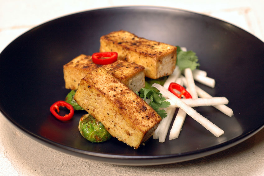 Five Spiced Tofu with Brussels Sprout and Thai Basil Black Pepper Reduction