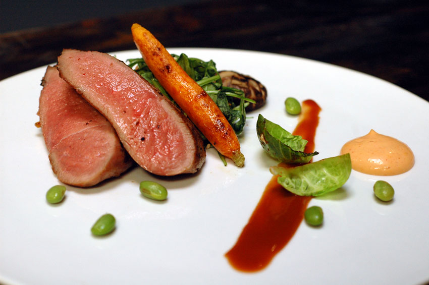 Tamarind Duck with Arugula and Soy Guava Reduction